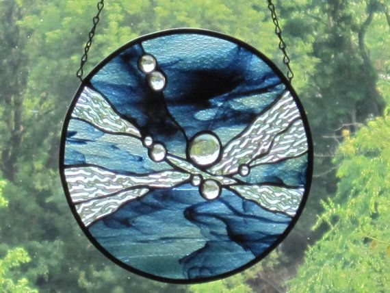 Stained Glass Midnight Sky Round Panel by RenaissanceGlass