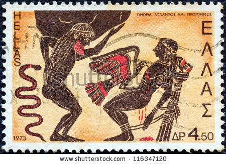 """GREECE - CIRCA 1973: A stamp printed in Greece from the """"Greek Mythology (2nd series)"""" issue shows Atlas and Prometheus punished by Zeus (kalyx crater), circa 1973. by Lefteris Papaulakis, via ShutterStock"""