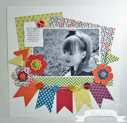 Artisan Traditional Scrapbook Page...Cute!  love the colourful layers and banner