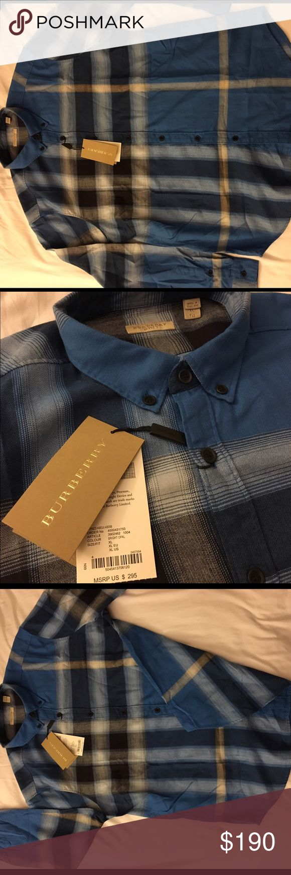 New authentic burberry shirt for men xl New with tags authentic burberry shirt for men blue color size xl original price is 295$ Burberry Shirts Casual Button Down Shirts