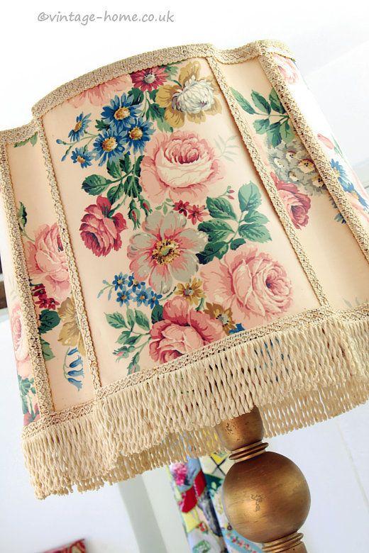 Vintage Home Shop - Beautiful Big Floral Vintage Lamp Shade for Standard Lamp: www.vintage-home.co.uk