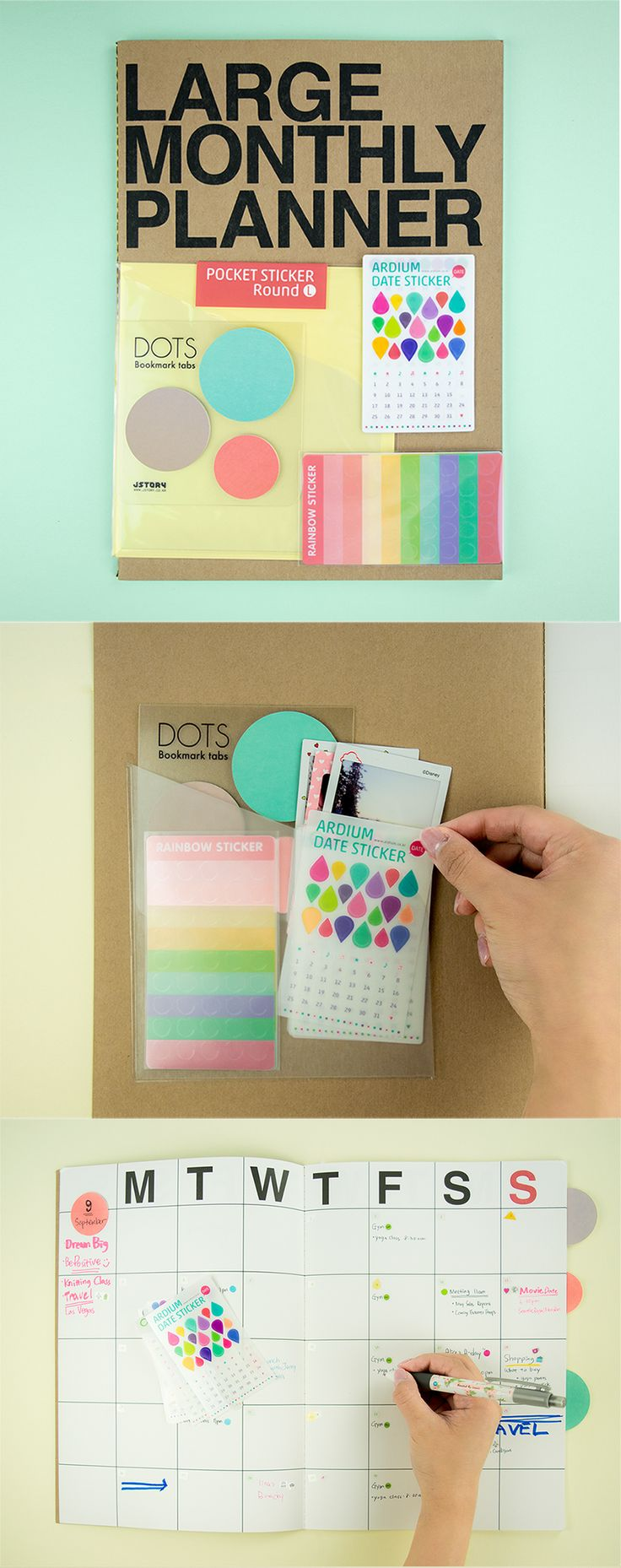 Set yourself up for successful planning with this Large Scheduler Kit. It includes all our most popular products in one convenient, lovable collection! It includes the Large Monthly Planner, Large Round Pocket Sticker, Rainbow & Date Sticker sets, and the Shape Index Sticky Note. With these must-have planner accessories, you can plan and decorate to your heart's content. Write reminders, to-dos, and grocery lists, too! Check it out and become the pro planner addict you were always meant to…