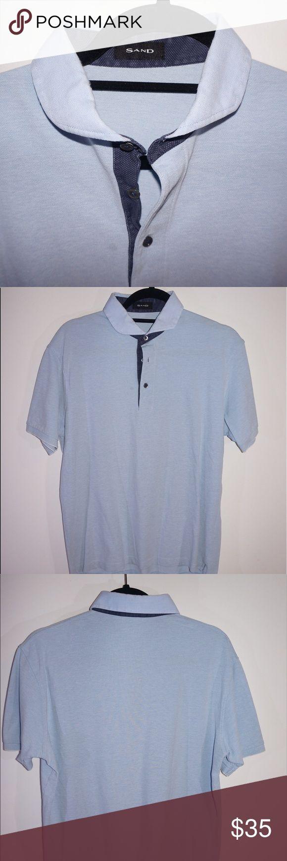 SAND Polo Shirt Light blue polo shirt with navy blue collar trim. Sand Shirts Polos