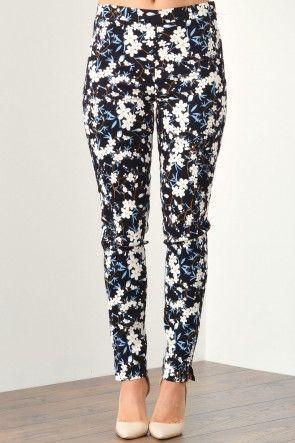 Rachel Floral Skinny Pants in Black
