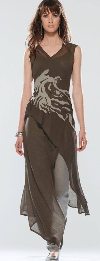 Sarah Pacini olive floaty dress and pants