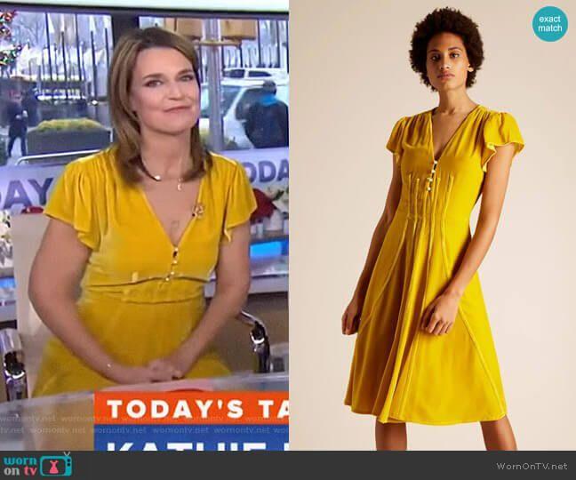 Savannah S Yellow Velvet Dress On Today Velvet Midi Dress Dresses Velvet Dress