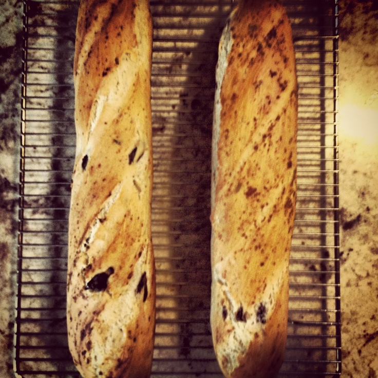 Olive & rosemary baguette - Paul used to be a baker in uni