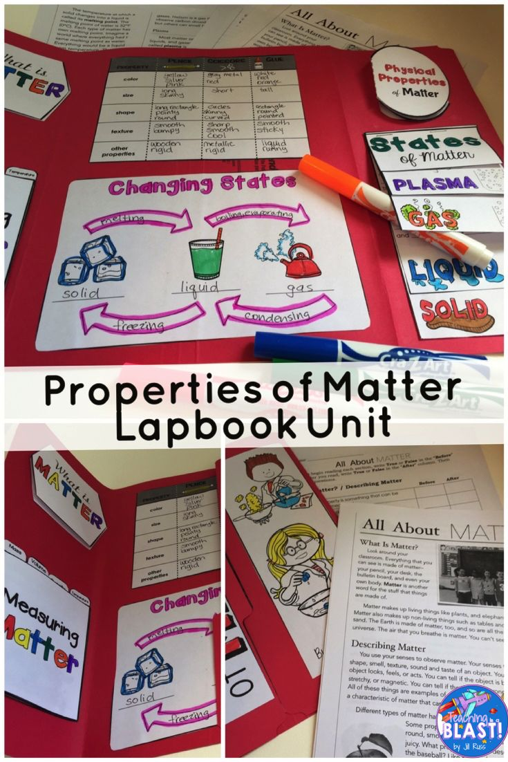 Complete unit with experiments and a lapbook or interactive notebook. Includes 8-page informational text about the physical properties of matter, describing and comparing matter using physical properties, measuring mass and volume of solids and liquids, density, temperature, changing states, freezing, melting, evaporation, condensation. Take a look at https://www.teacherspayteachers.com/Product/Properties-of-Matter-Unit-with-Lapbook-and-Informational-Text-2599970