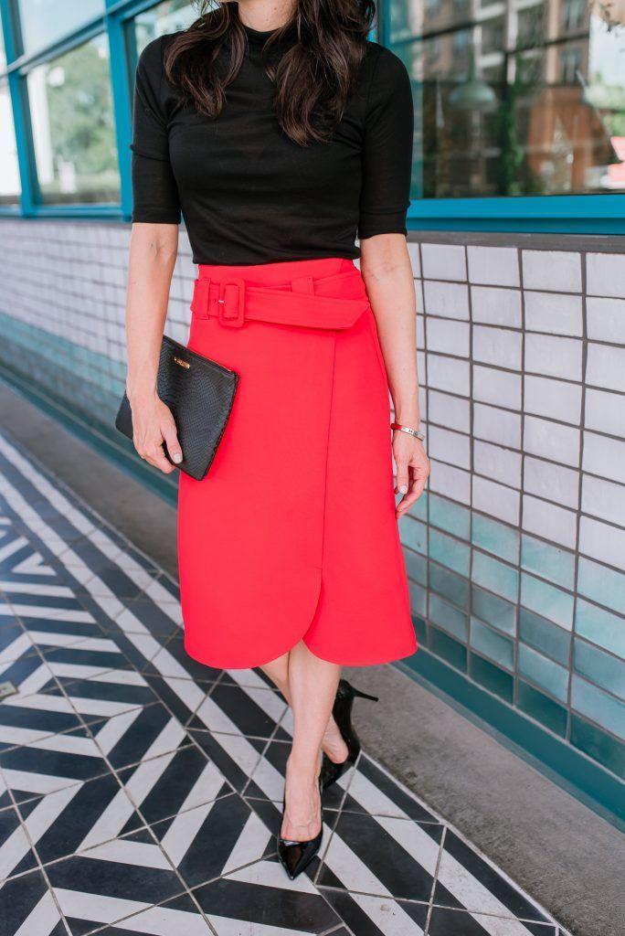 72338fbbc6 workwear | red midi skirt | black patent heels | Houston Fashion Blogger  Lady in Violet #workwear #redskirt #blackheels #clutch