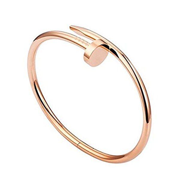 Nagel Armband in Rosegold und Silber   Minimalist Armreif aus Edehlstahl für Damen   hochwertige Qualität mit edler Verpackung