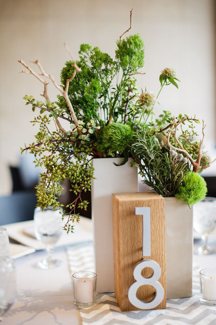 72 best images about place escort cards table numbers on for Modern centerpieces
