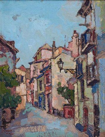 Street Scene with Street Lamp by Gregoire Johannes Boonzaier
