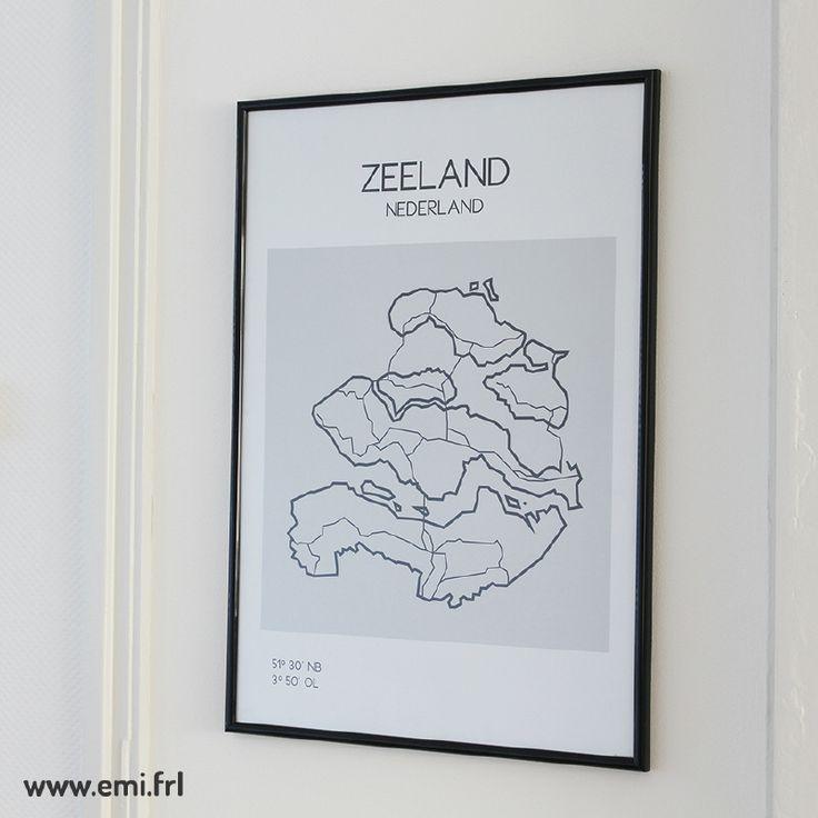Zeeland, plattegrond, minimalistische Scandinavische stijl, Emi.frl