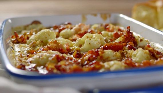 James Martin cauliflower cheese with maple syrup pancetta recipe on James Martin: Home Comforts