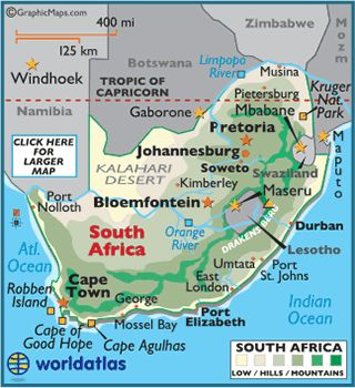 Map of South Africa Southern Africa
