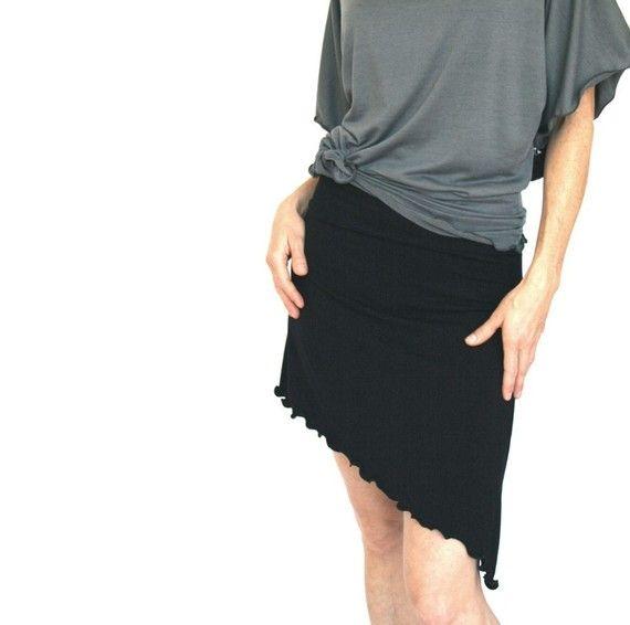 ASYMMETRICAL SKIRT  short skirt, cotton skirt, stretch skirt, treehouse28, black skirt, women's skirt, asymmetrical hem, custom, handmade