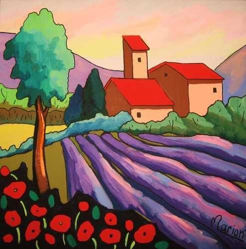Laventin de Provence by Louise Marion - Louise Marion, artiste peintre, paysage urbain, Quebec, couleurs