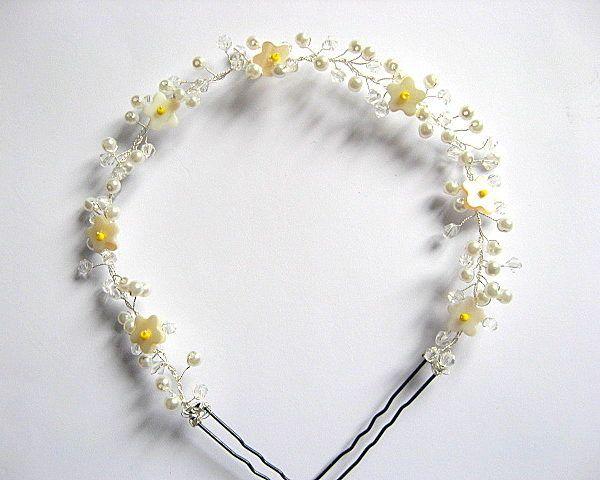 Coronita mireasa nunta flori sidef galbene, perle sticla si cristale - idei cadouri mirese - cadou femeie