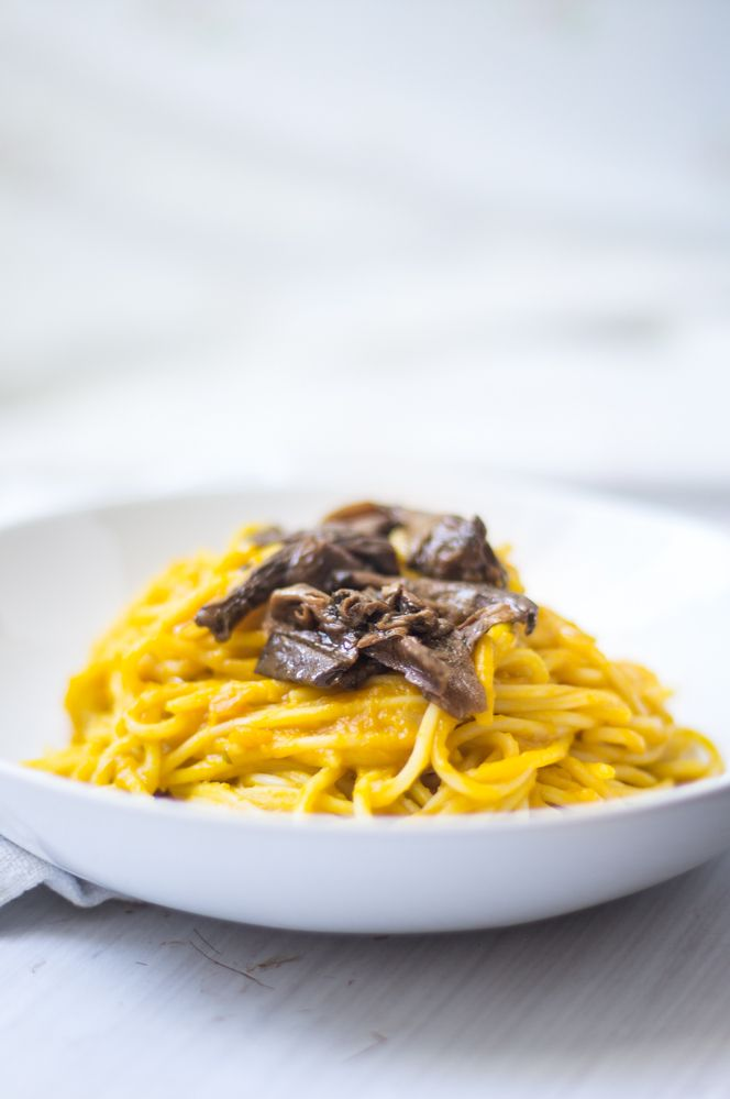 Creamy #pumpkin and porcini pasta
