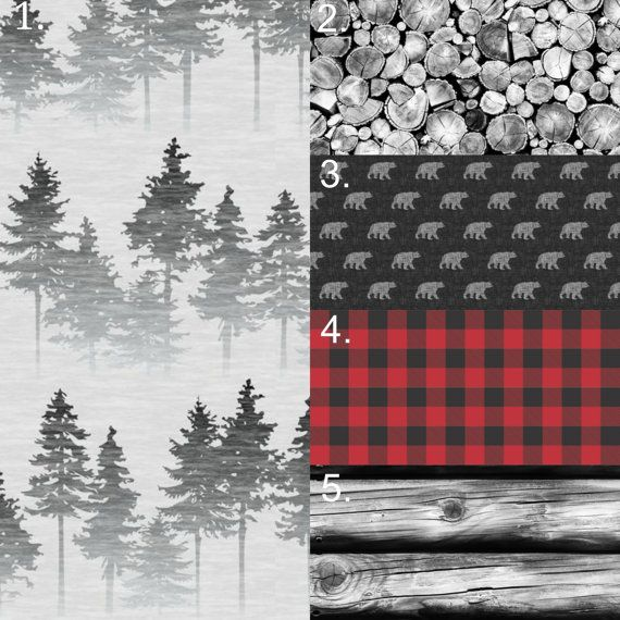 Woodland Bedding Set, Bear 3 Piece Set, Crib Sheet, Forest Crib Skirt, Tree Bumper, Nature Bumperless, Rustic Hunting Boy Nursery
