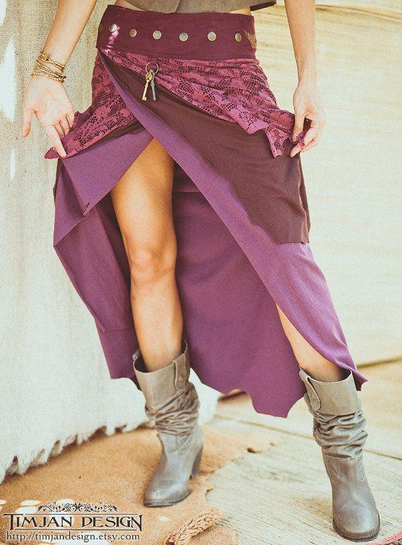 LONG PIXE SKIRT - Faery fairy costume Tribal Hippie Boho Burning man Organic - Purple Burgundy - Size xs/s - Psl-Pu-1
