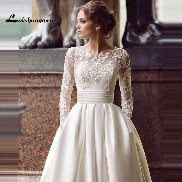 Modest Long Sleeve Wedding Dresses Turkey Scoop Satin Custom Made