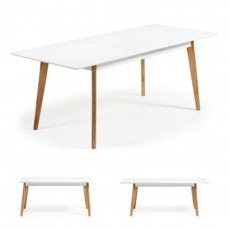 Mesa extensible MEETY 160-200x90 - madera Haya - DM Blanco para comedor estilo escandinavo