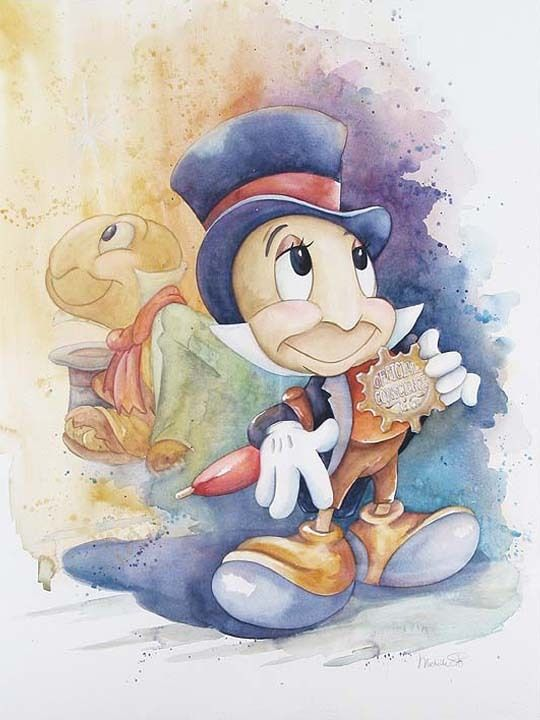 Jiminy Cricket | Watercolor - I love this- Jiminy is one of my favorite Disney characters.