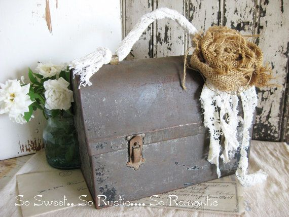 Vintage Lunch Box  Rustic Farmhouse Romance  by SweetMagnoliasFarm, $28.50 sold