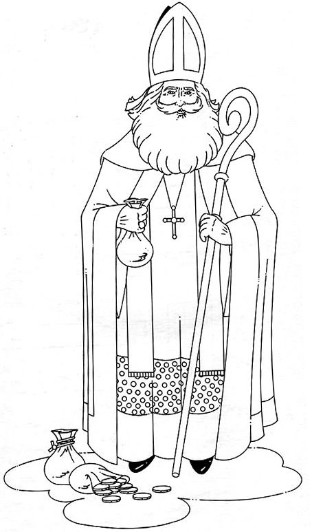 st nicholas standing more free coloring sheetscoloring