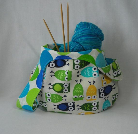 japanese knot bag - knitting project bag - amigurumi project bag - wristlet pouch - Urban Zoologie owl print blue - free knitting pattern