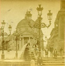 Stereoview Photo Children at the Fountain Rome Italy 1885 Kilburn