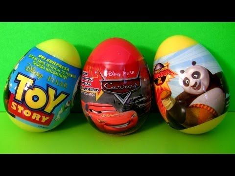 3 Surprise Eggs Disney Cars 2 Pixar Toy Story DTC TOYS Kung Fu Panda Egg 2013 Unboxing Review