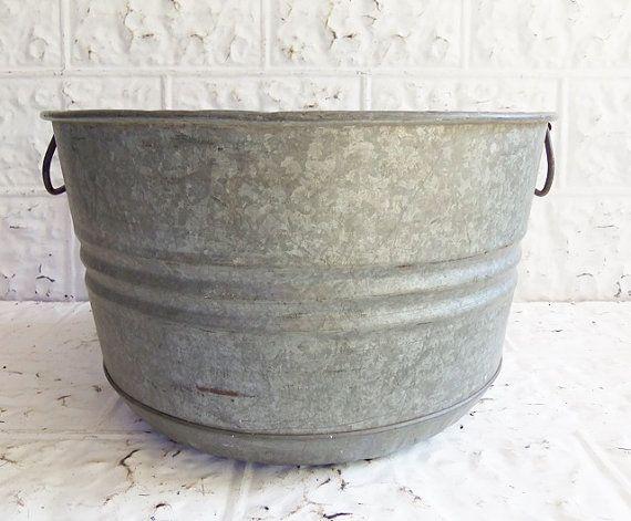RESERVED FOR DEBRA Vintage Galvanized Bushel Basket