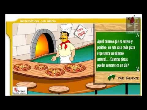 Aprende matemáticas en esta pizzeria. Mario su encargado te enseñará los numeros naturales, los decimales y las fracciones y a operar con ellos. Todo sin salir de su pizzeria.