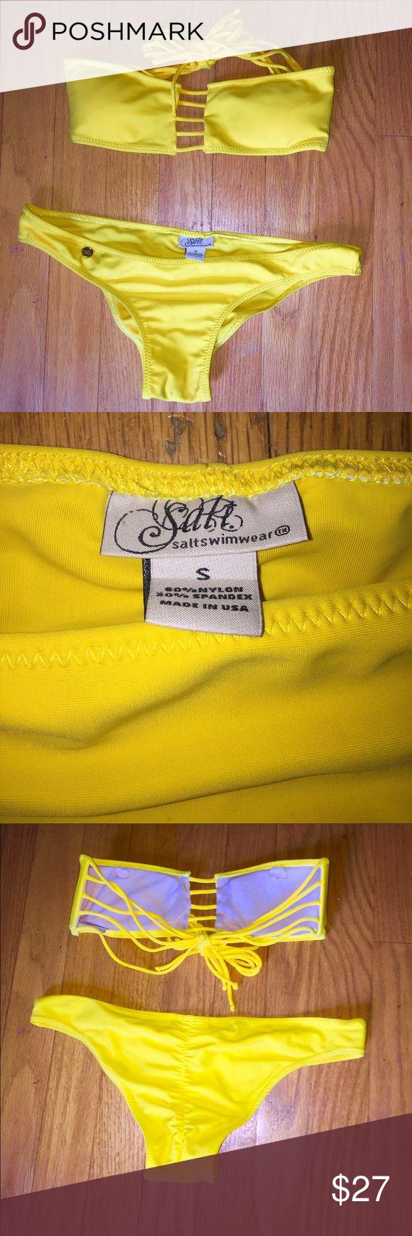 Salt swimwear bikini set S Yellow Size 4 Salt Swimwear bikini set. Bandeau top with string tie. Holes cut to put in a lighter padding. Cheeky bottoms. Please help me to clean out my closet! Salt swimwear Swim Bikinis