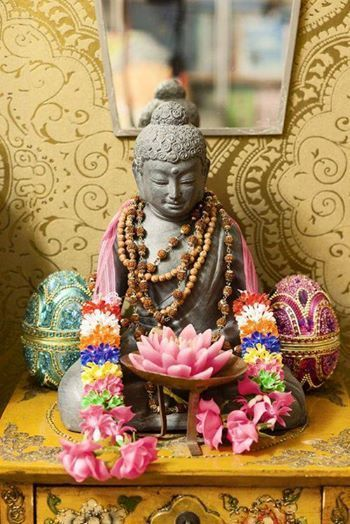 small buddhist altar in a home