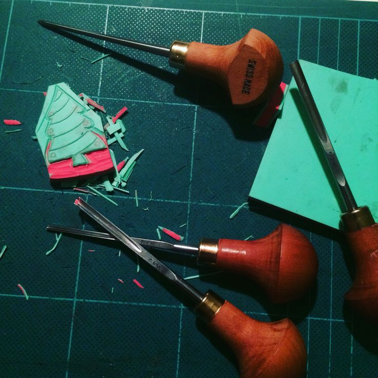Carving Rubberstamps for Christmas