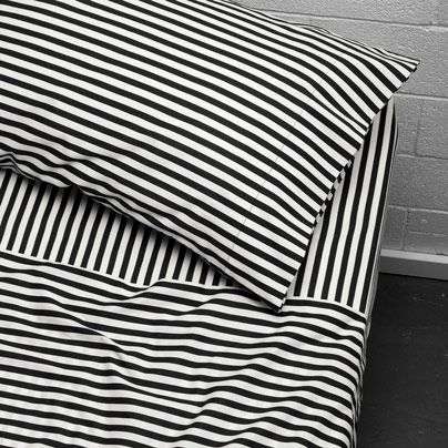 Umbrella Stripe Queen bed sheet set Black