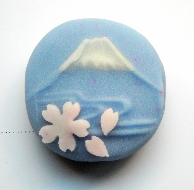 The wagashi keeps getting better. Gorgeous Mt Fuji with Sakura petals.