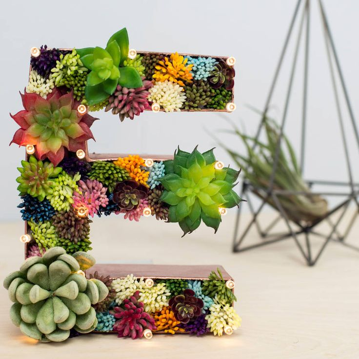 Handmade Succulent Letter Light. A stunning addition to our range of light up letters, these artificial succulent letters are bang on trend and would make a fantastic addition to the home, or a rustic 'themed' wedding.