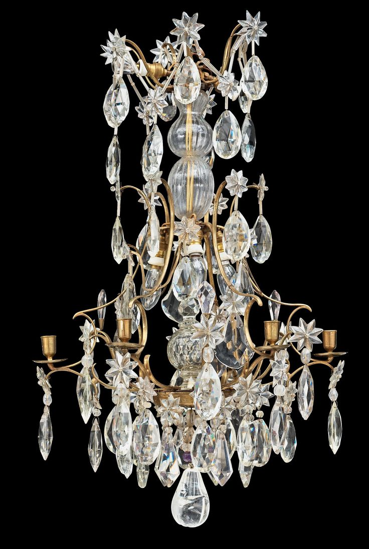 Wildwood brass and crystal beads buffet - A Swedish Rococo 18th Century Six Light Chandelier