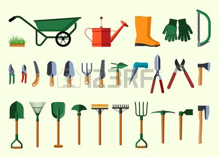 Garden tools. Flat design illustration of items for gardening. Vector illustration. Herramientas de jardinería. Ilustración Diseño plano de artículos para jardinería. Ilustración del vector.