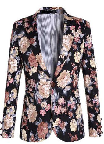 **Attractive Royalty Style Velvet Blend Floral Blazer | www.pilaeo.com #men's #luxury #fashion