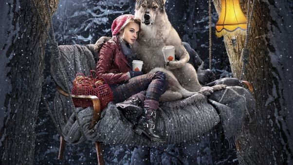 Обои красная шапочка, собака, девушка, волк, лес, зима, композиция