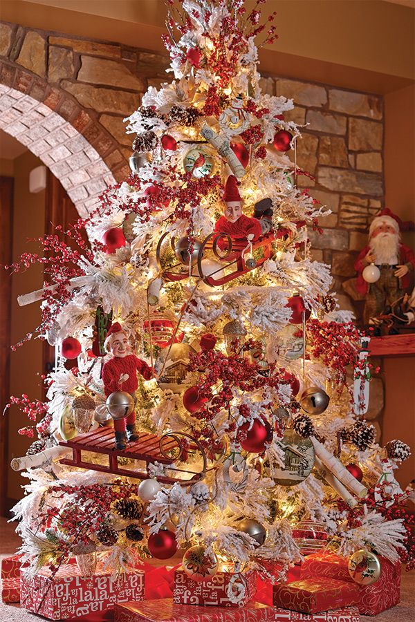 Snowy Cardinal Theme Tree O Christmas Tree Pinterest
