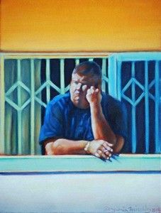 """Afrikaner series, Locked Out"", Oil on Canvas, W: 230mm x H: 310mm x D: 40mm,  W: 9"" x H: 12"" x D: 2"""