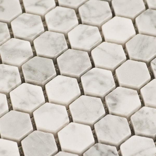 Carrara marble hexagon tile design trends honeycomb tiles pinter Marble hex tile bathroom floor