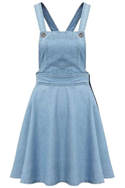 denim jumper dress + stripe tee