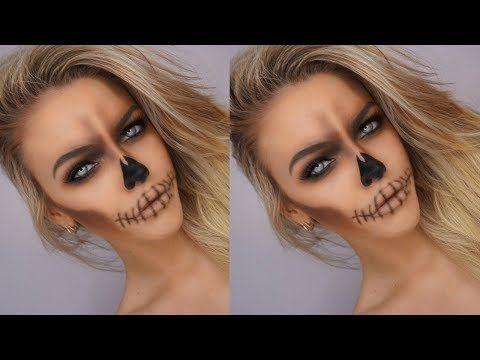 easy skull halloween makeup tutorial  justjosie  youtube